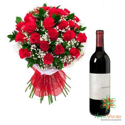Mazzo di Rose rosse e vino