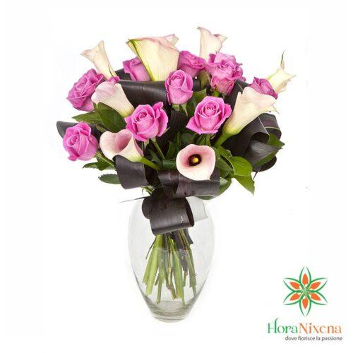 Bouquet di calle bianche e rose rosa, consegna fiori online, Vendita online spedizione a domicilio a Pisa, Roma, Bari, Perugia, Varese, Ferrara.