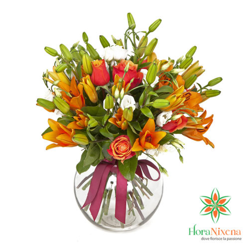 Bouquet arancio rose e lilium