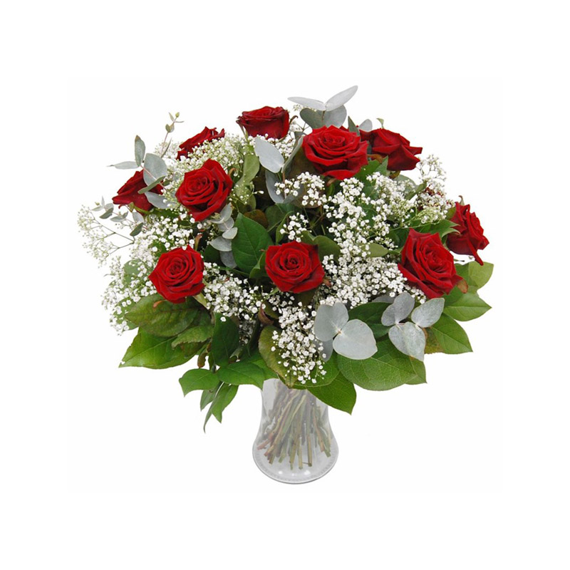Bouquet di Rose rosse e Gypsophila