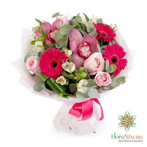 bouquet di gerbere fucsia, rose rosa e alstromerie, con consegna a domicilio per qualsiasi occasione