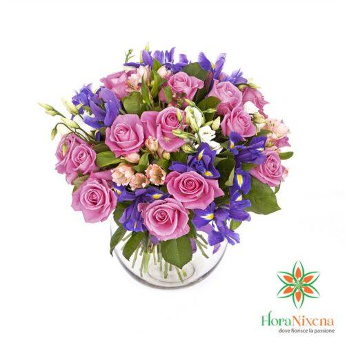 Mazzo di 9 Rose Rosa e iris