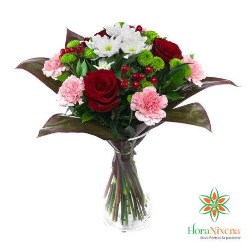 Bouquet di rose rosse e garofani rosa