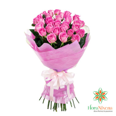 Bouquet di 25 Rose rosa