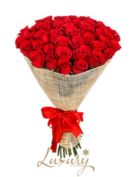 Bouquet 50 Rose rosse (Luxury)
