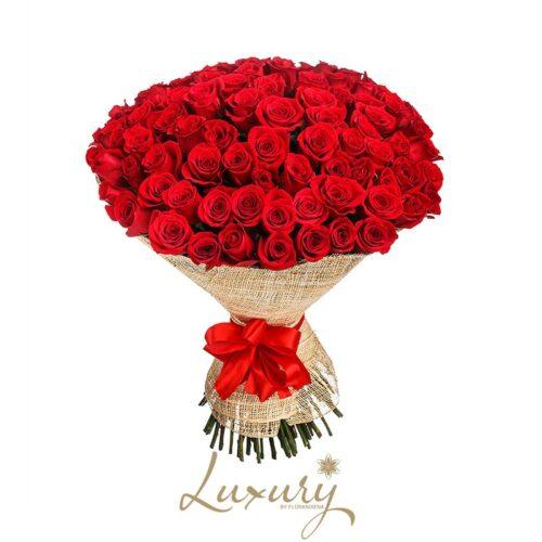 Bouquet 100 Rose rosse Lusso